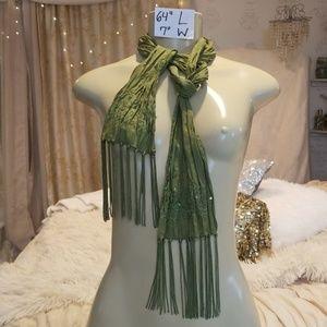 Dark green beaded sequin organza scarf